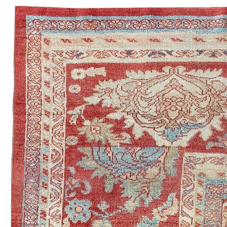 Antique Persian Sultanabad Beige, Blue, Brown, Pink and Red Wool For Sale 1
