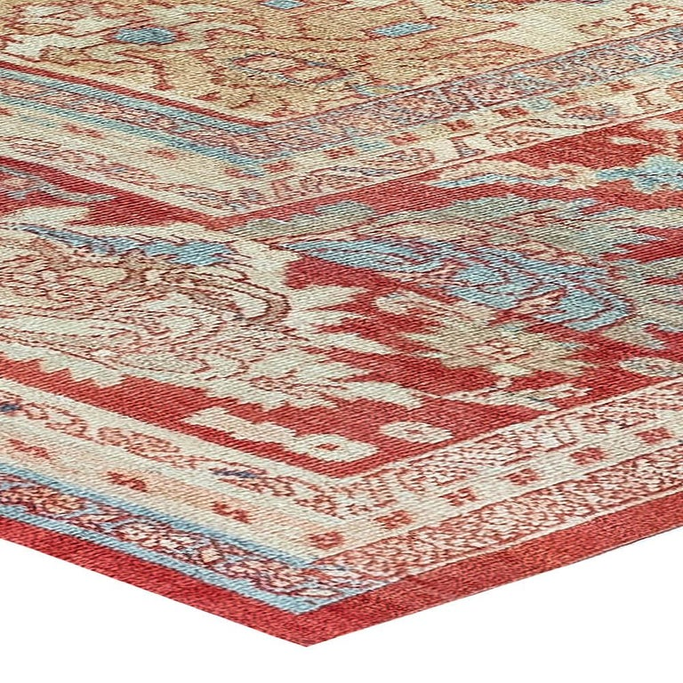 Antique Persian Sultanabad Beige, Blue, Brown, Pink and Red Wool For Sale 2