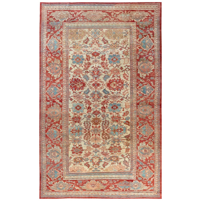 Antique Persian Sultanabad Beige, Blue, Brown, Pink and Red Wool For Sale