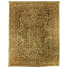 Antique Persian Sultanabad Beige and Brown Handwoven Wool Rug