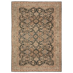 Antique Persian Sultanabad Beige, Gray and Brown Handwoven Wool Rug