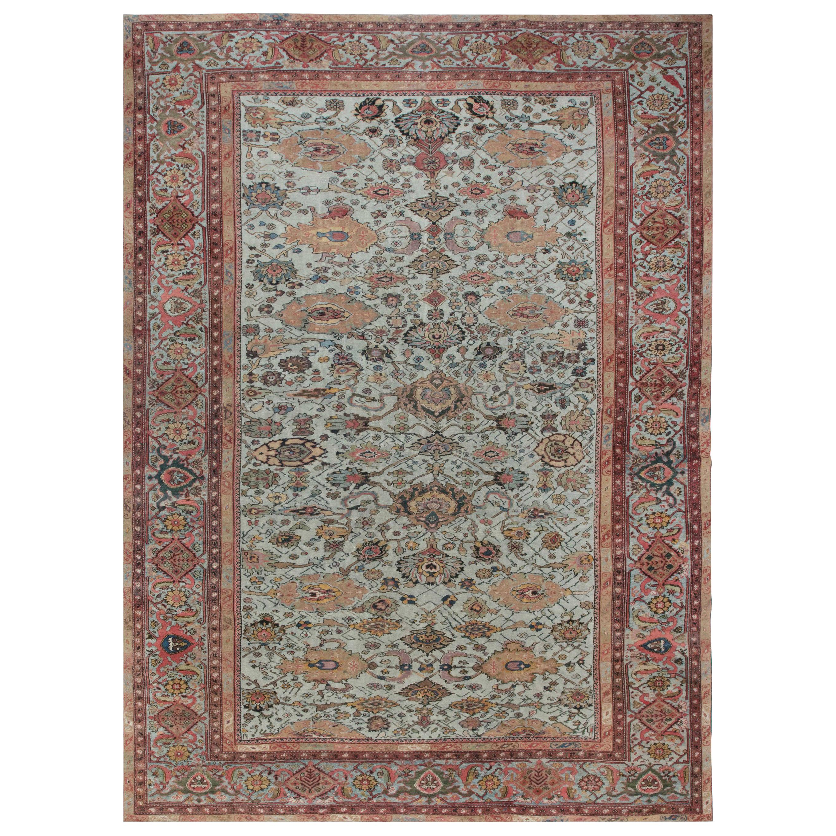Antique Persian Sultanabad Blue, Red Beige and Brown Handwoven Wool Rug