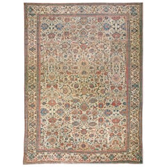 Antique Persian Sultanabad Botanic Colorful Handwoven Wool Rug