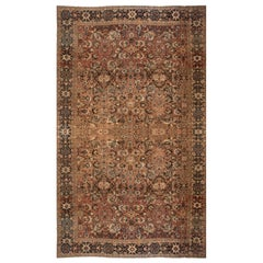 Antique Persian Sultanabad Brown Handwoven Wool Carpet