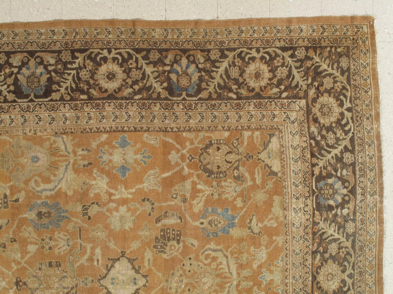 Wool Antique Persian Sultanabad Carpet, Handmade Oriental Rug, Brown, Peach Soft Blue For Sale