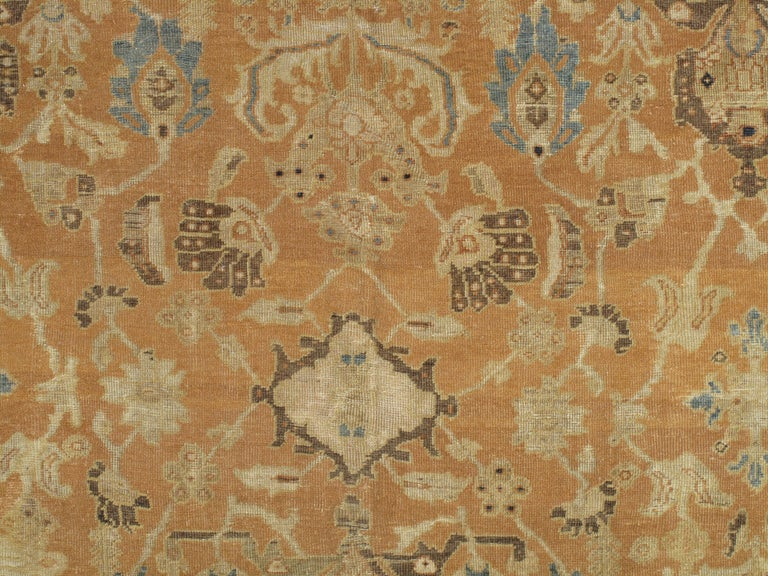 Antique Persian Sultanabad Carpet, Handmade Oriental Rug, Brown, Peach Soft Blue For Sale 1