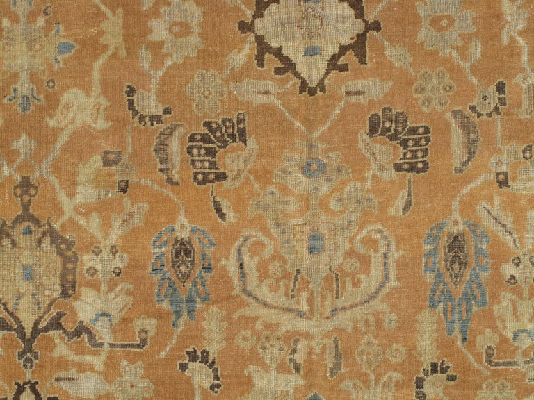 Antique Persian Sultanabad Carpet, Handmade Oriental Rug, Brown, Peach Soft Blue For Sale 2