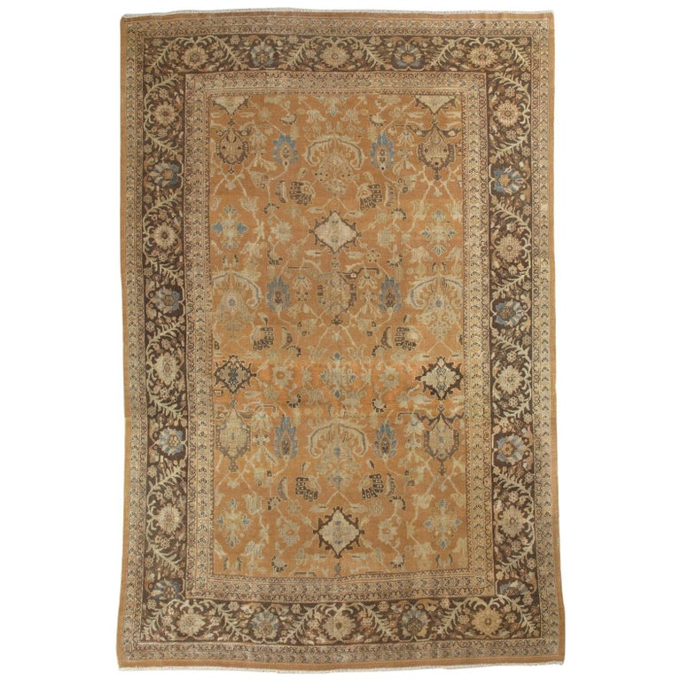Antique Persian Sultanabad Carpet, Handmade Oriental Rug, Brown, Peach Soft Blue For Sale