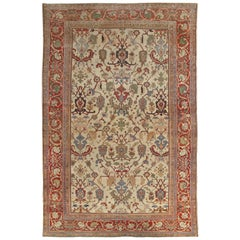 Antique Persian Sultanabad Carpet Ivory, Red, Light Blue, and Green