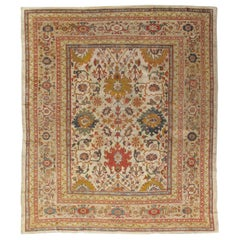 Antique Persian Sultanabad Carpet, Wool Ivory Oriental Rug Hand Knotted