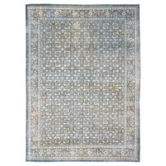 Antique Persian Sultanabad Distressed Rug in Blue, Blue Gray and Light Brown