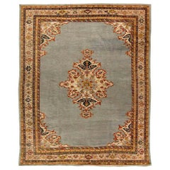 Antique Persian Sultanabad Gray, Beige, Carmine and Copper Handwoven Wool Rug
