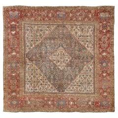 Antique Persian Sultanabad Herati Square Rug