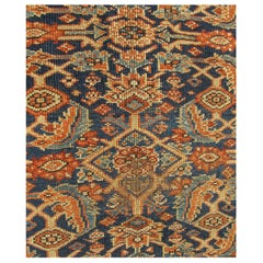 Antique Persian Sultanabad/Mahal Fragment Rug in Blue Background in Multi-Colors