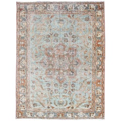 Antique Persian Sultanabad Mahal in Light Blue, Light Green, Gray & Charcoal