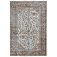 Antique Persian Sultanabad-Mahal Rug in Ivory, Terracotta, Light Blue, Charcoal