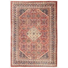 Antique Persian Sultanabad Mahal rug with Faded Red, Navy Blue