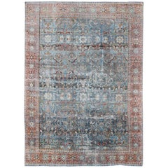 Antique Persian Sultanabad Mahal Rug with Geo-Floral Design in Blue Green & Red