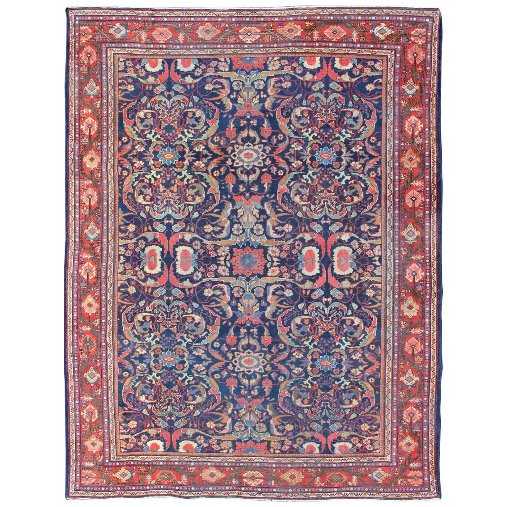 Antique Persian Sultanabad-Mahal Rug with Navy Blue Field and Red Border