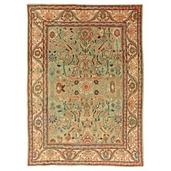 Antique Persian Sultanabad Mint Green, Red, Blue and Beige Handwoven Wool Rug