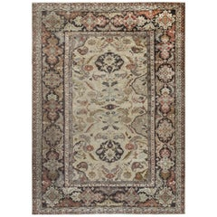 Antique Persian Sultanabad Multi-Color Handwoven Wool Rug