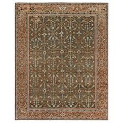Antique Persian Sultanabad Muted Beige, Brown, Green and Orange Wool Rug