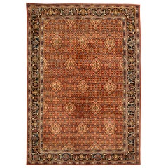 Antique Persian Sultanabad Red and Blue Handwoven Wool Rug