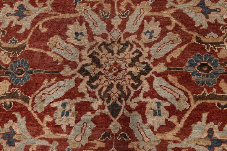 Antique Persian Sultanabad red, white and blue handwoven wool rug Size: 13'3