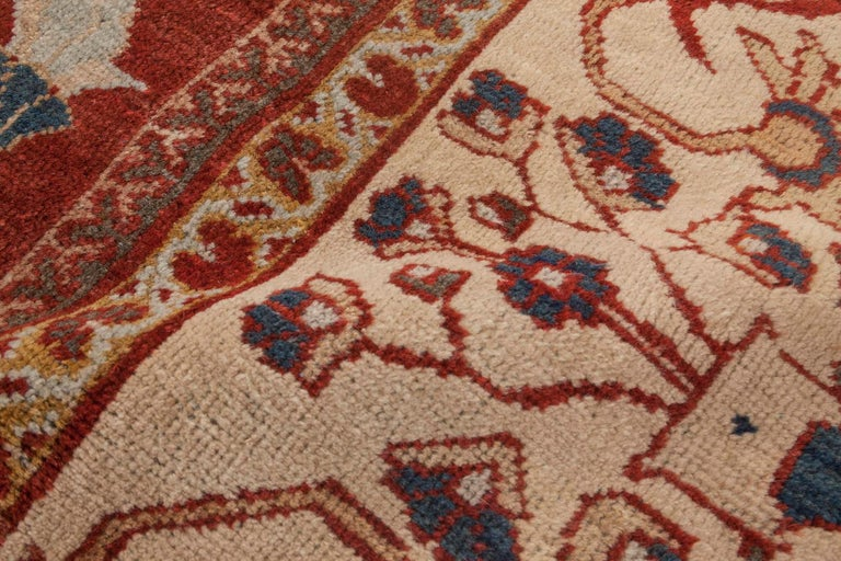 Hand-Woven Antique Persian Sultanabad Red, White and Blue Handwoven Wool Rug For Sale