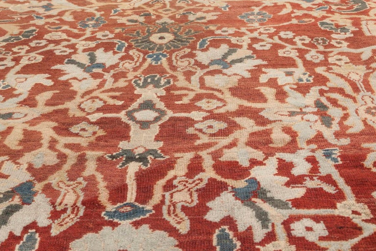 20th Century Antique Persian Sultanabad Red, White and Blue Handwoven Wool Rug For Sale