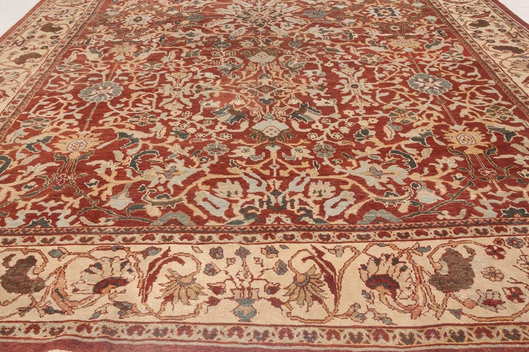 Antique Persian Sultanabad Red, White and Blue Handwoven Wool Rug For Sale 2