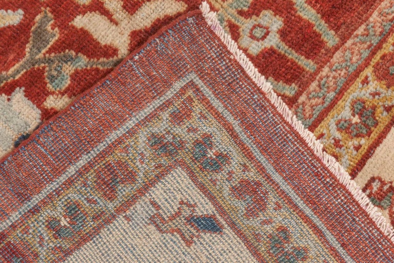 Antique Persian Sultanabad Red, White and Blue Handwoven Wool Rug For Sale 3