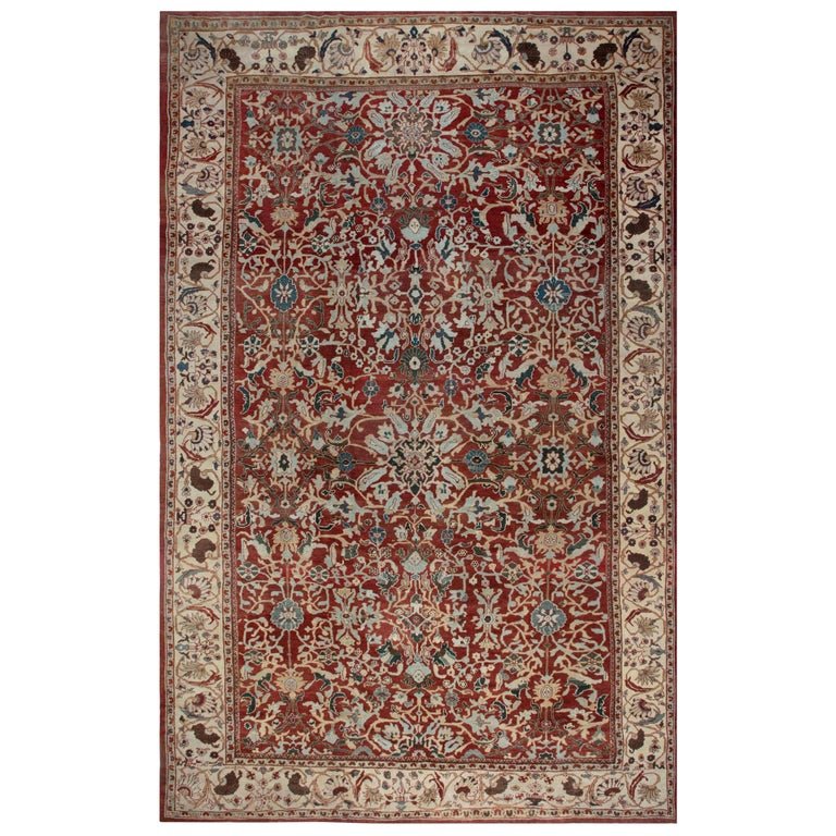 Antique Persian Sultanabad Red, White and Blue Handwoven Wool Rug For Sale