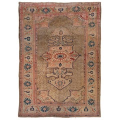 Antique Persian Sultanabad Rug, Beige Field with Orange and Blue Accents