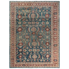 Antique Persian Sultanabad Rug in Beige, Blue, and Red
