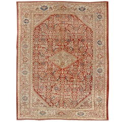 Antique Persian Sultanabad Rug in Red, Green, Blue, Taupe and Cream