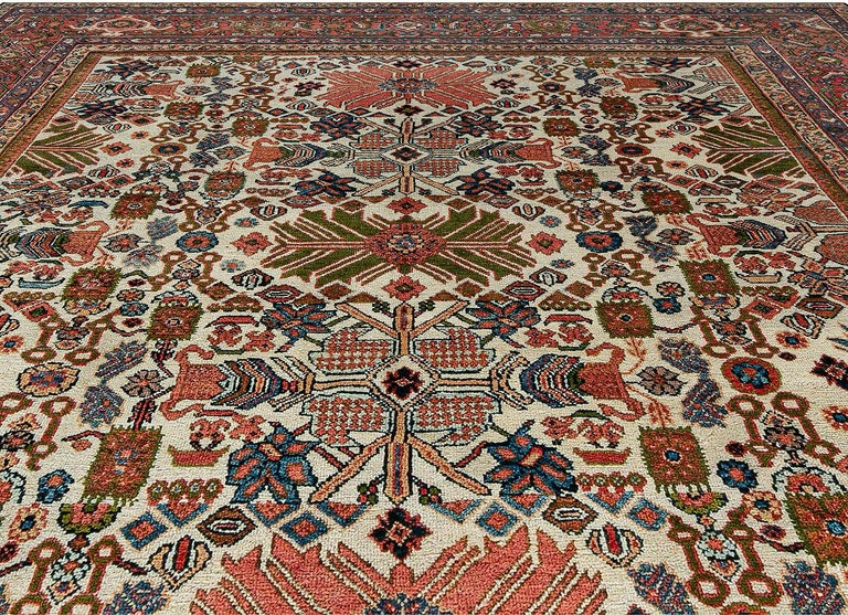 Hand-Knotted Antique Persian Sultanabad Rug 'Size Adjusted' Beige, Blue, Green, Orange, Red For Sale