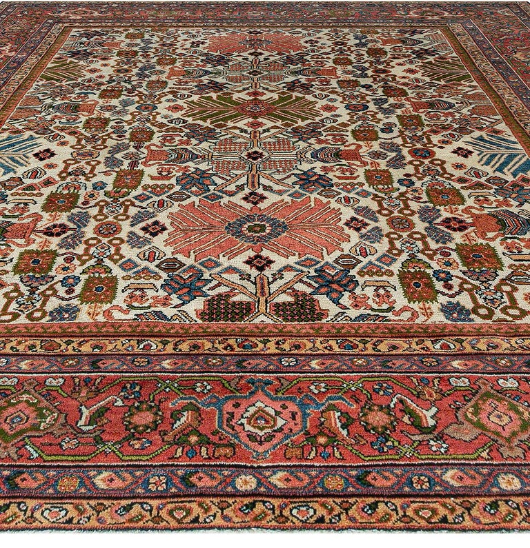 Antique Persian Sultanabad Rug 'Size Adjusted' Beige, Blue, Green, Orange, Red In Fair Condition For Sale In New York, NY