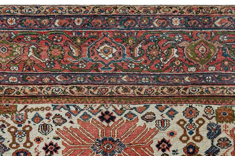 Wool Antique Persian Sultanabad Rug 'Size Adjusted' Beige, Blue, Green, Orange, Red For Sale