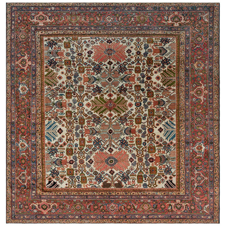 Antique Persian Sultanabad Rug 'Size Adjusted' Beige, Blue, Green, Orange, Red For Sale