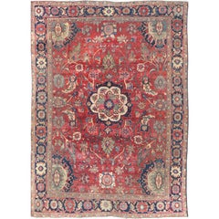 Antique Persian Sultanabad Rug with Red Field, Cream Medallion and Floral Motifs