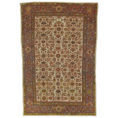 Antique Persian Sultanabad, Wool Handmade Beige, Gold, Navy and Red Oriental Rug