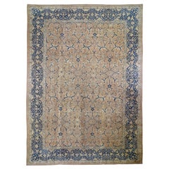 Antique Persian Tabriz All-Over Arabesque Motifs Hand Knotted Oriental Rug