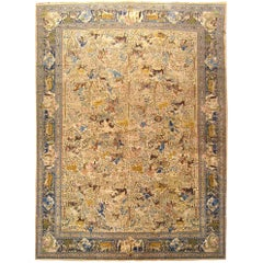 Antique Persian Tabriz Animal Carpet in Large Size with Intricate Hunting Scenes