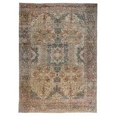 Antique Persian Tabriz Beige, Black, Brown and Blue Handwoven Wool Rug