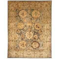 Antique Persian Tabriz Botanic Blue and Camel Handwoven Wool Rug