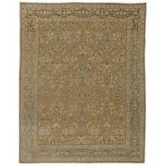 Antique Persian Tabriz Botanic Camel and Blue Handwoven Wool Rug