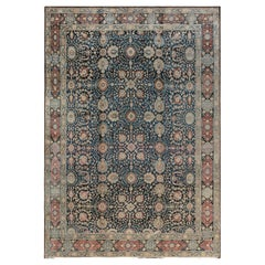 Antique Persian Tabriz Botanic Navy Blue Background Carpet