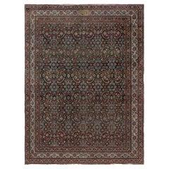 Antique Persian Tabriz Botanic Rug