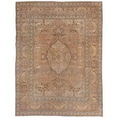 Antique Persian Tabriz Carpet, circa 1900s, Soft Palette